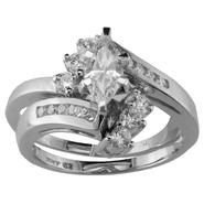 Cubic Zirconia Swirl Bridal Set in 10K White Gold at Kmart.com