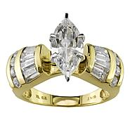 Cubic Zirconia Marquise Center with Baguette and Round Accents Ring in 10K Yellow Gold. at Kmart.com