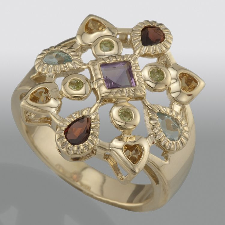 multi gemstone cluster ring