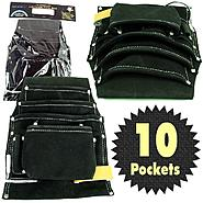 Stalwart Professional 10 Pocket Leather Tool Bag Pouch - Black at Sears.com