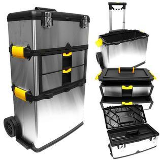 Stalwart Massive & Mobile 3-part Stainless Steel Tool Box