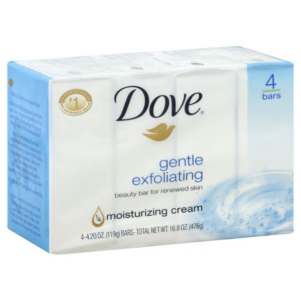 Dove Beauty Bar, Gentle Exfoliating, 4 - 4.20 oz (1119 g) bars [16.8 oz (476 g)]