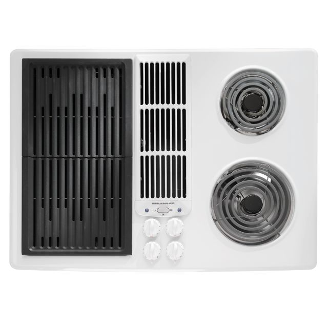 Electric Coil Cooktop With Downdraft ~ Jennair electric downdraft cooktop with grill and two