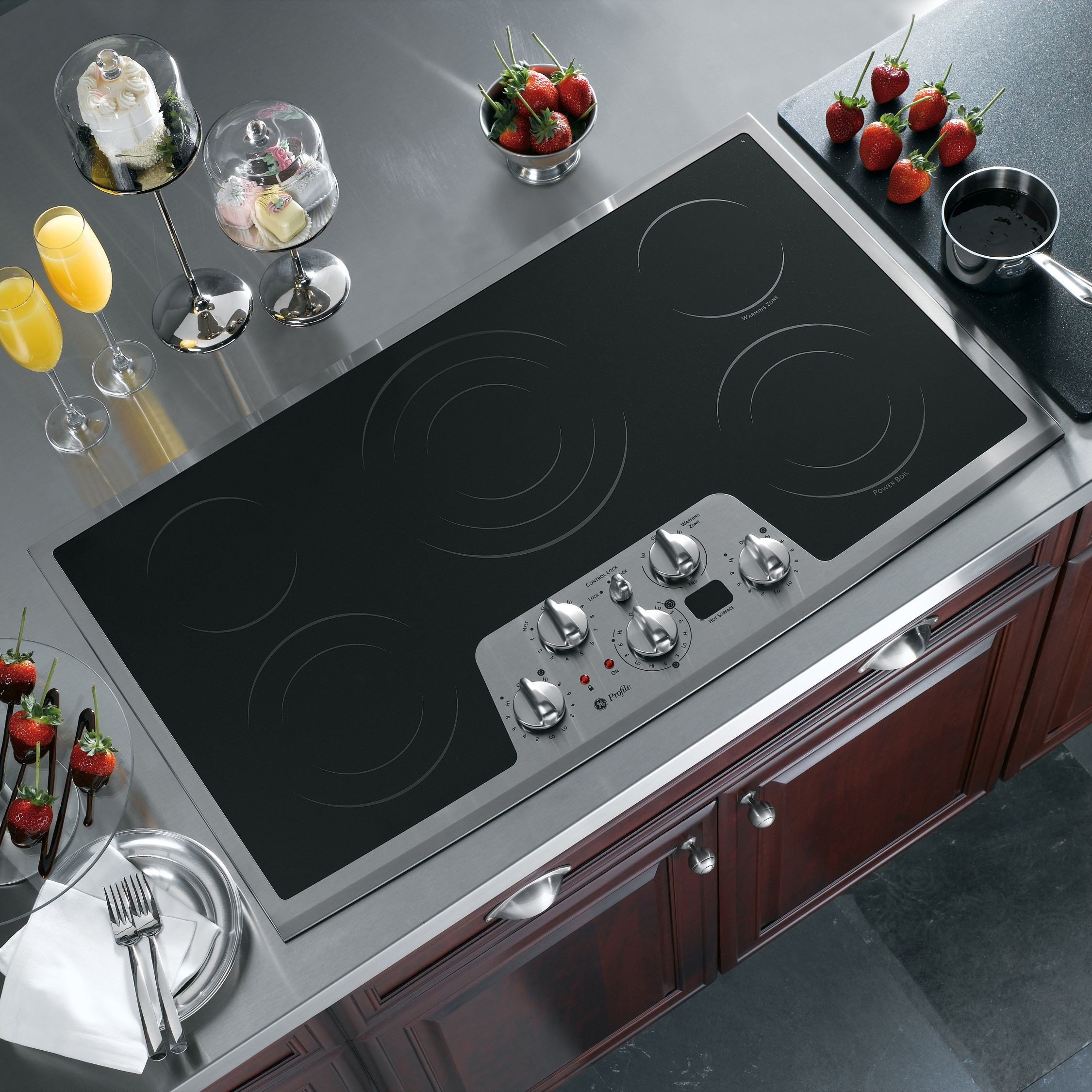 GE Profile 36 Built-In Electric Cooktop - Stainless Steel