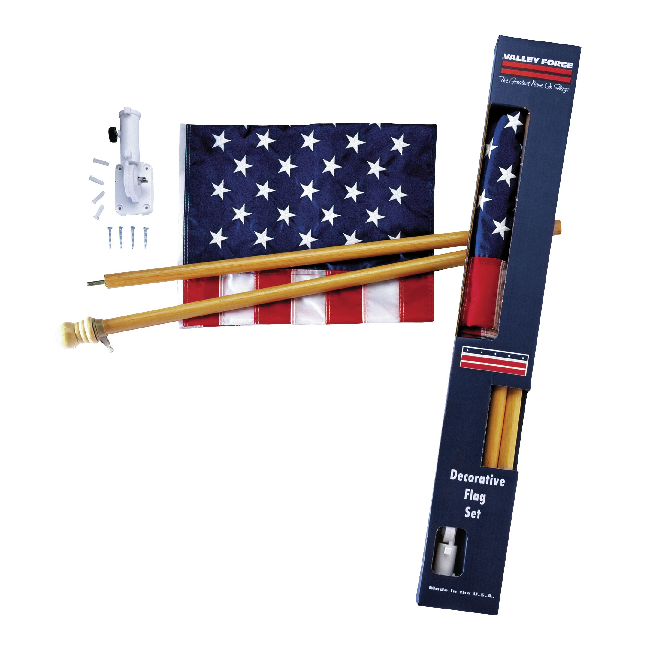 Image of Valley Forge Flag 2.5 ft. x 4 ft. Boxed U.S. Flag Set with Wood Pole