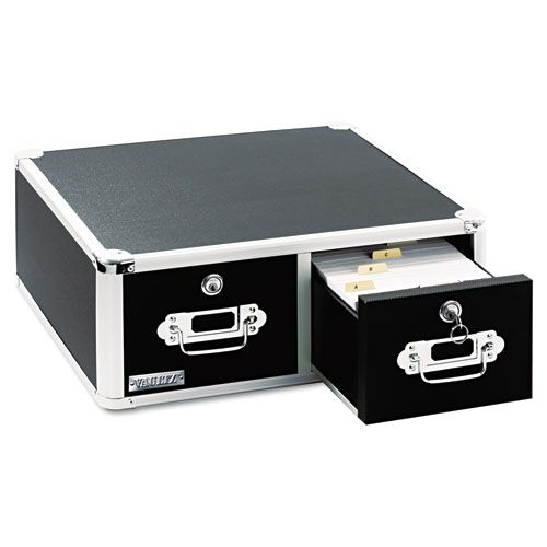 Vaultz Locking 3,000-Index Card Box, 3 x 5, Black