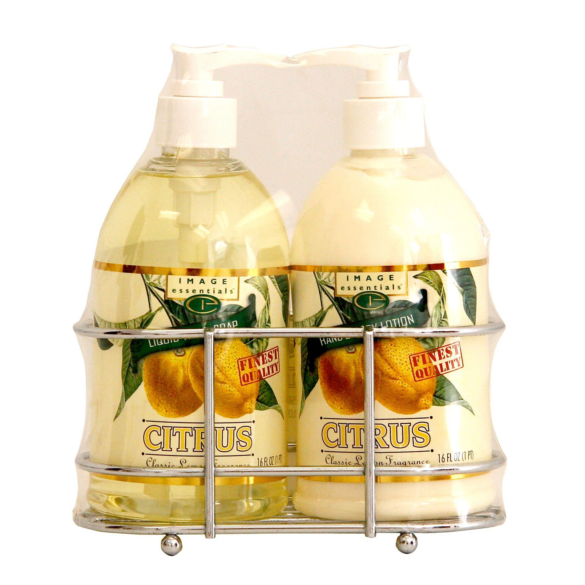 Image Essentials Citrus Liquid Soap & Lotion Wire Rack Set Classic Lemon 16 Ounce Bottles at mygofer.com