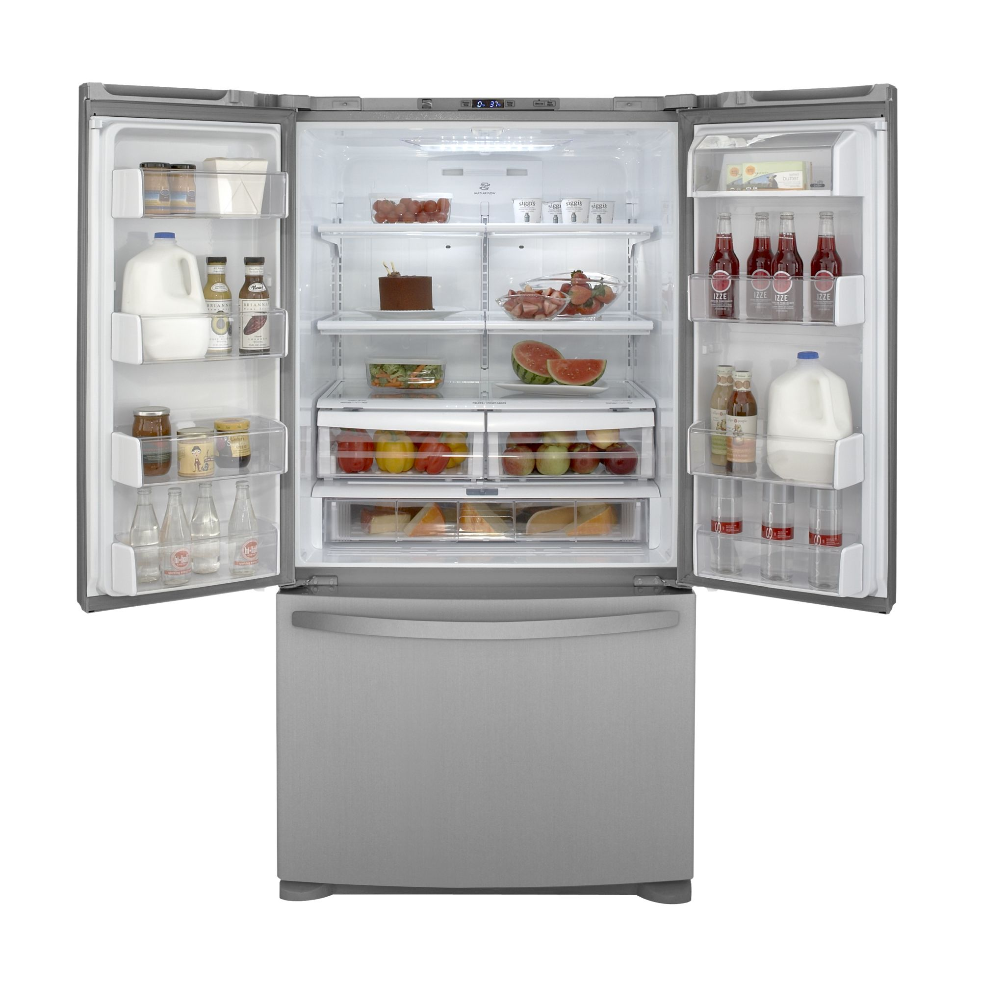 25.0 cu. ft. French Door Bottom-Freezer Refrigerator - Stainless Steel                                                           at mygofer.com