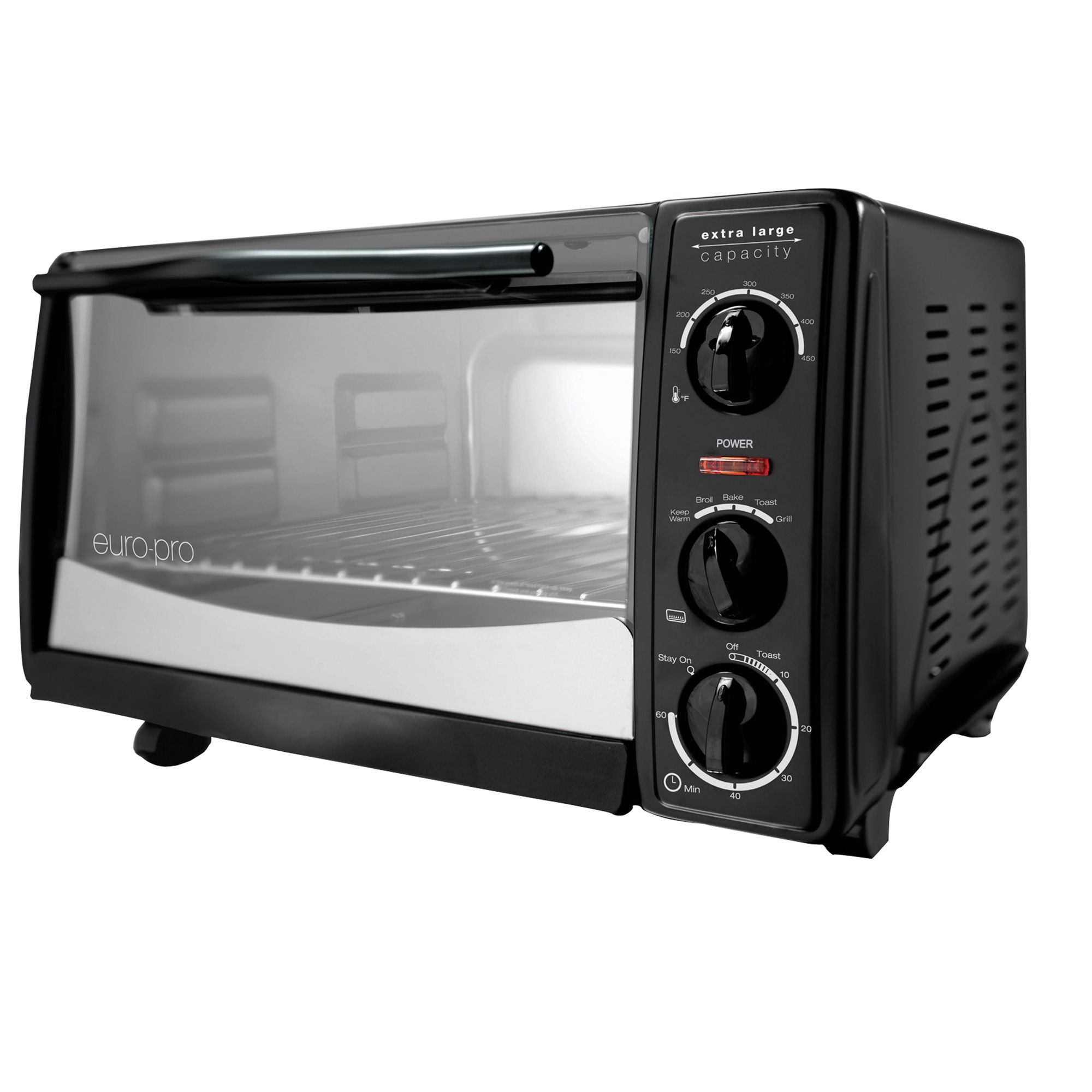 6 Slice Toaster Oven Black w/ 12 Pizza Bump