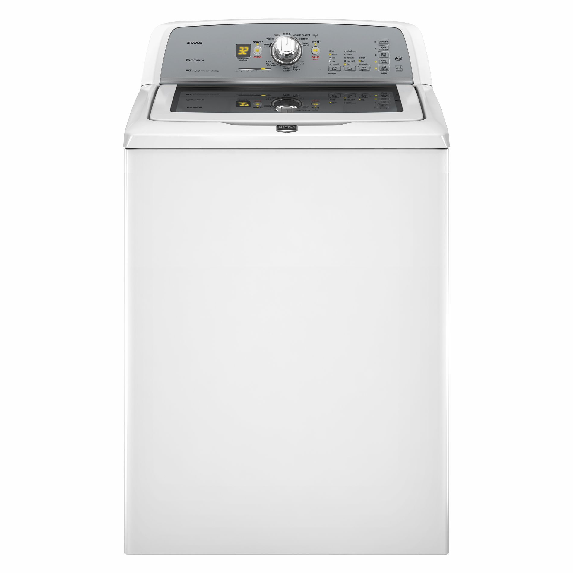 Maytag Bravos X 3.6 cu. ft. High-Efficiency Top-Load  Washer w/ Low-Water Wash - White                                                  Maytag 3.6 cu. ft. High-Efficiency Top-Load Washer - White