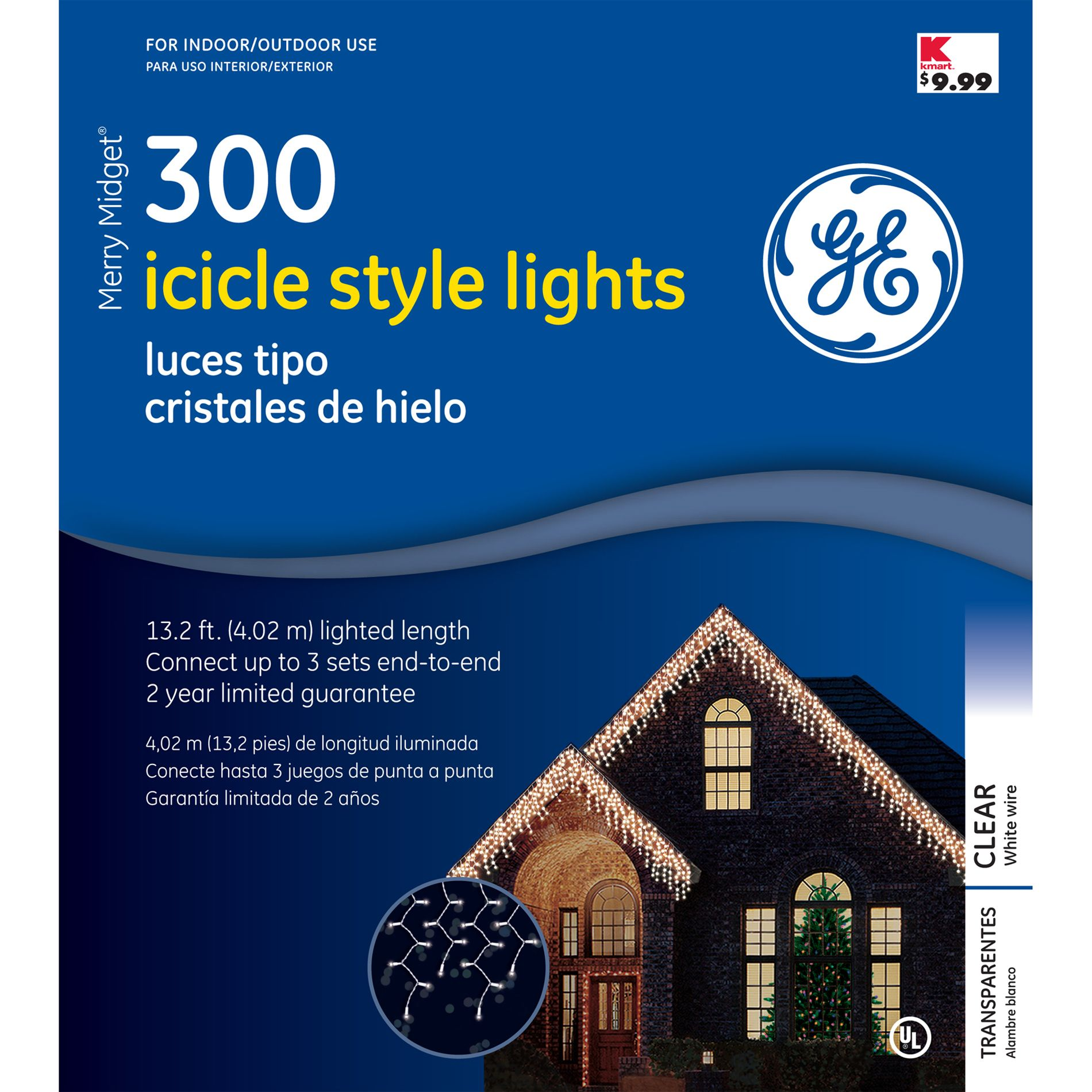 GE Merry Midget Icicle 300 Christmas Light Set - Clear