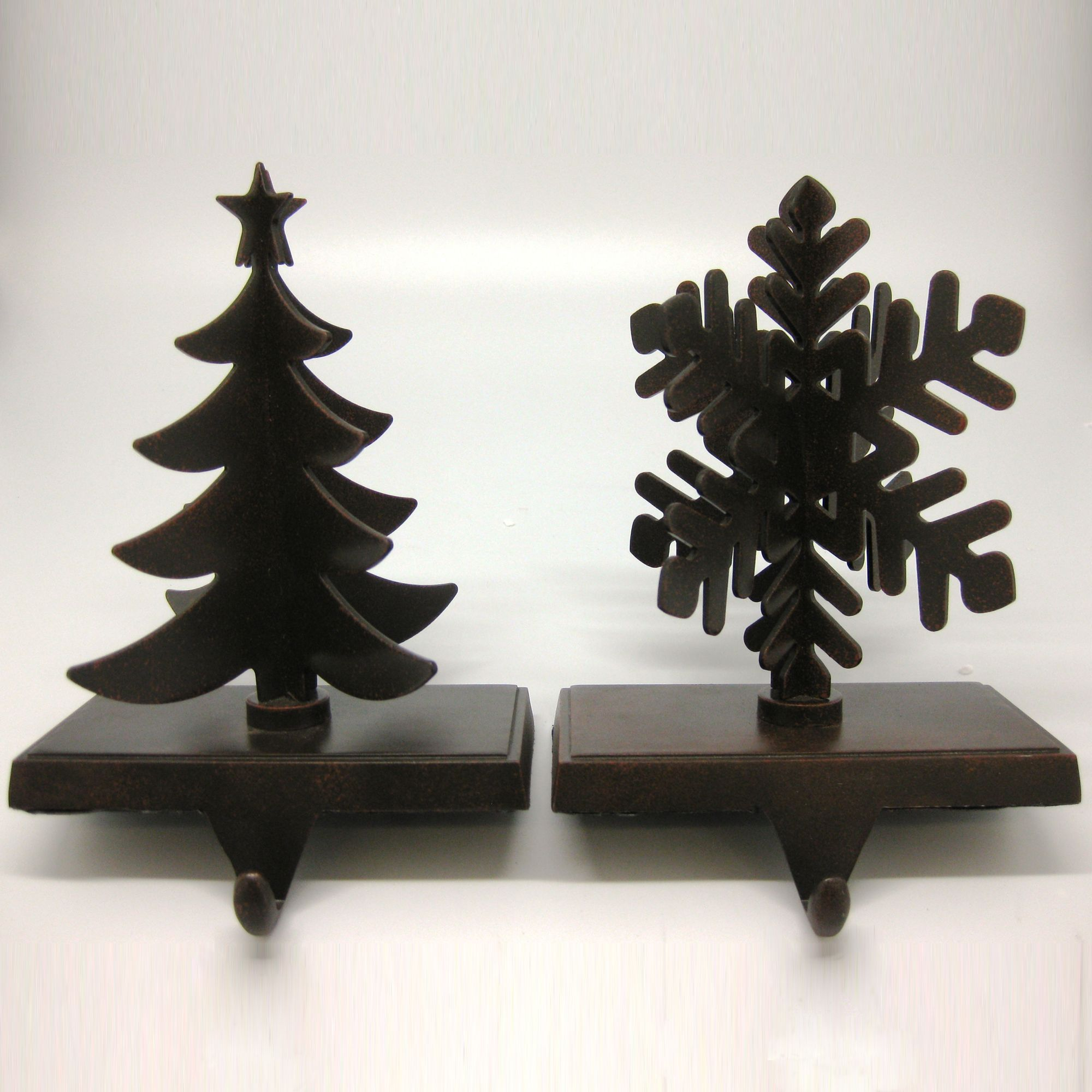 2pk Metal Stocking Holder - Snowflake And Tree                                                                                   at mygofer.com