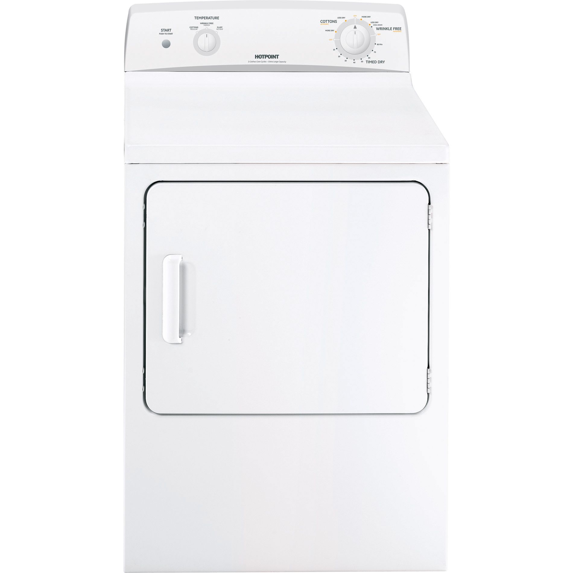 Hotpoint HTDX100EMWW 6.0 cu. ft. Flat-Back Electric Dryer - White