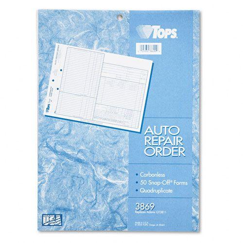 TOPS Auto Repair Four-Part Order Form PartNumber: 025V043884602000P KsnValue: 025V043884602000 MfgPartNumber: TOP3869