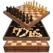 Chess Board Walnut Book Style w/ Staunton Chessmen