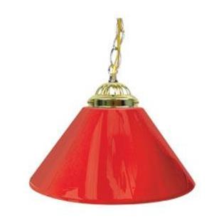 Trademark Plain Red 14 Inch Single Shade Bar Lamp - Brass hardware