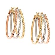 10K Tri-Color Diamond Cut Triple Fan Hoop Earrings at Kmart.com