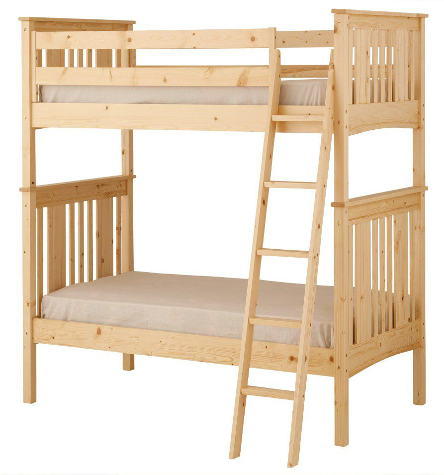 Canwood Base Camp Twin over Twin Bunk Bed with Angled Ladder/Guard Rail - Natural