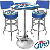 Trademark Ultimate Miller Lite Gameroom Combo 2 Stools w/ Back & Table at mygofer.com