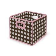 Badger Basket Brown Polka Dot with Pink Trim Folding Storage Cube at Sears.com