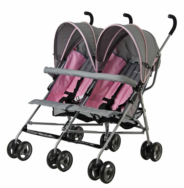 Dream on Me Twin Umbrella Stroller Pink