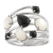 Mother of Pearl and Onyx Pebble Stone Ring at Kmart.com