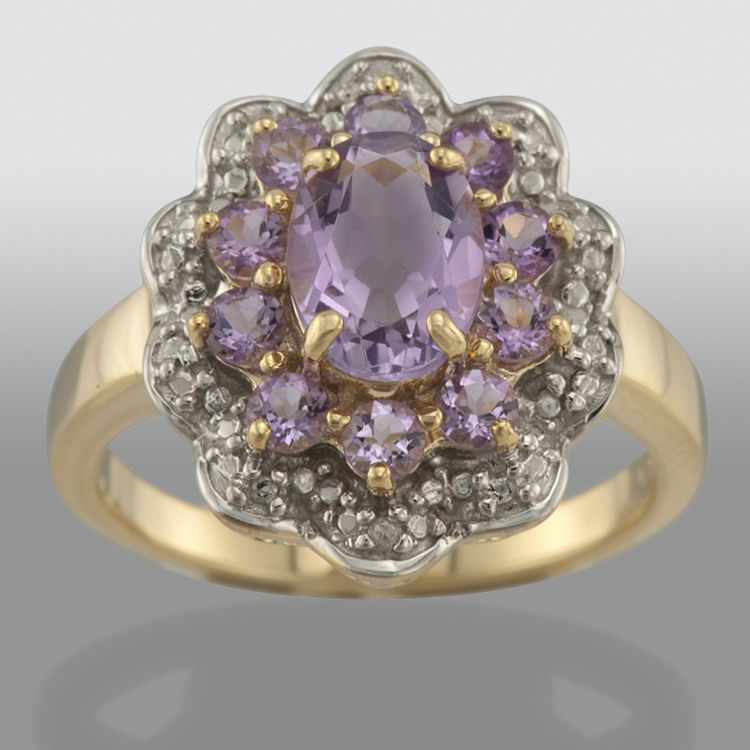 Amethyst & Diamond Accent Ring