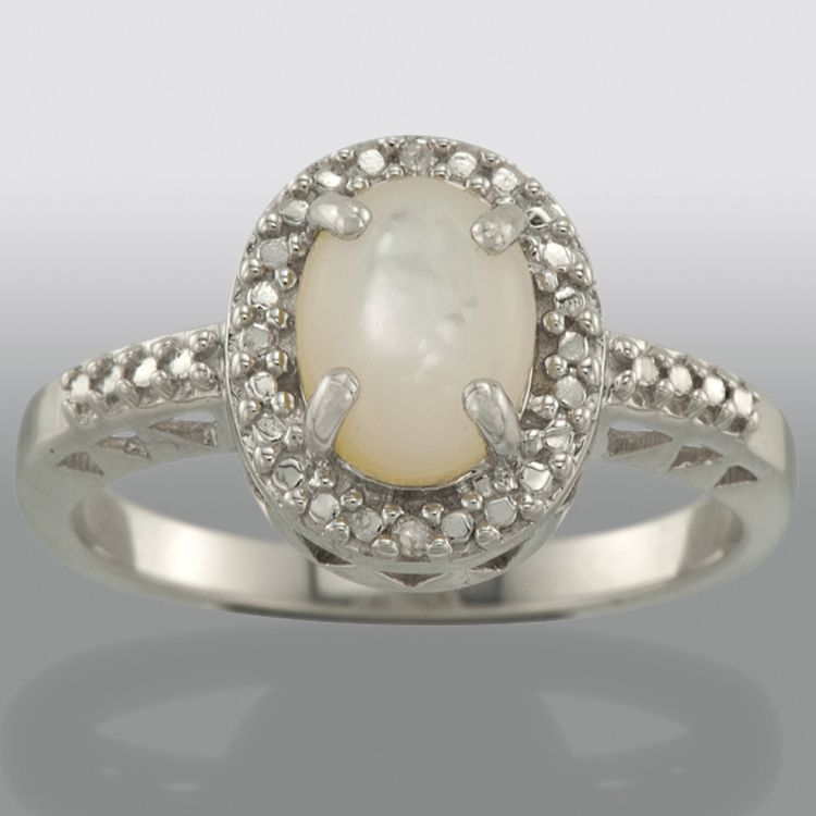 Mother of Pearl and Diamond Accent Ring