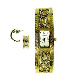Elgin Ladies Two Tone Bangle Watch with Matching Earrings at Kmart.com