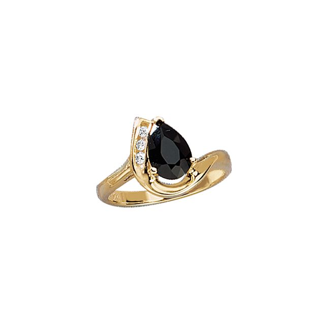 Black Onyx and Diamond Accent Ring