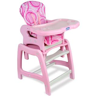 Badger Basket Envee Baby High Chair with Playtable Conversion - Pink and White