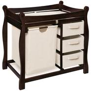 Badger Basket Espresso Sleigh Style Changing Table with Hamper and 3 Baskets at Kmart.com