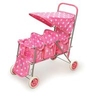 Badger Toy Triple Doll Stroller - Pink with White Polka Dots at Kmart.com