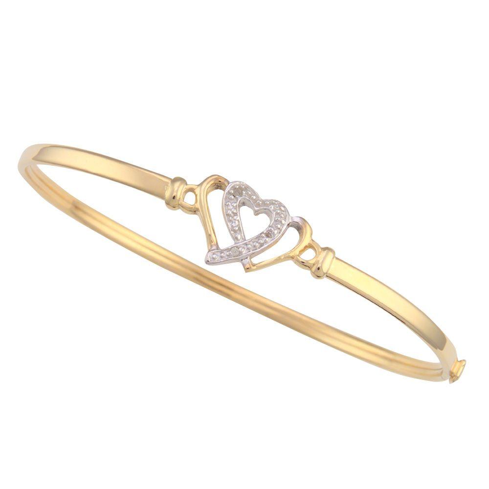 10K Gold Heart Flex Bangle