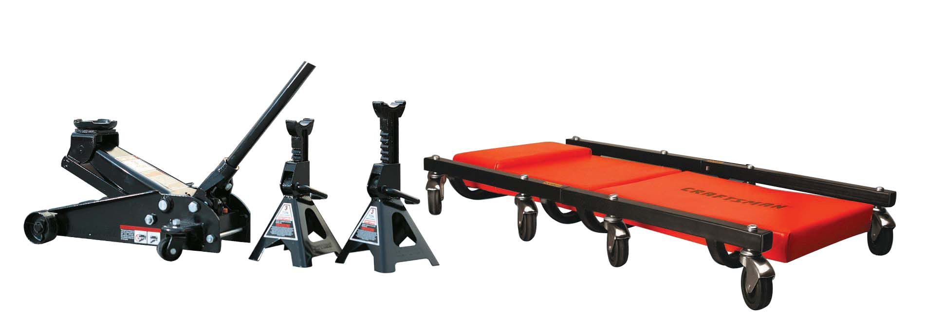 Craftsman 3 ton Floor Jack, Jack Stands and Creeper Set