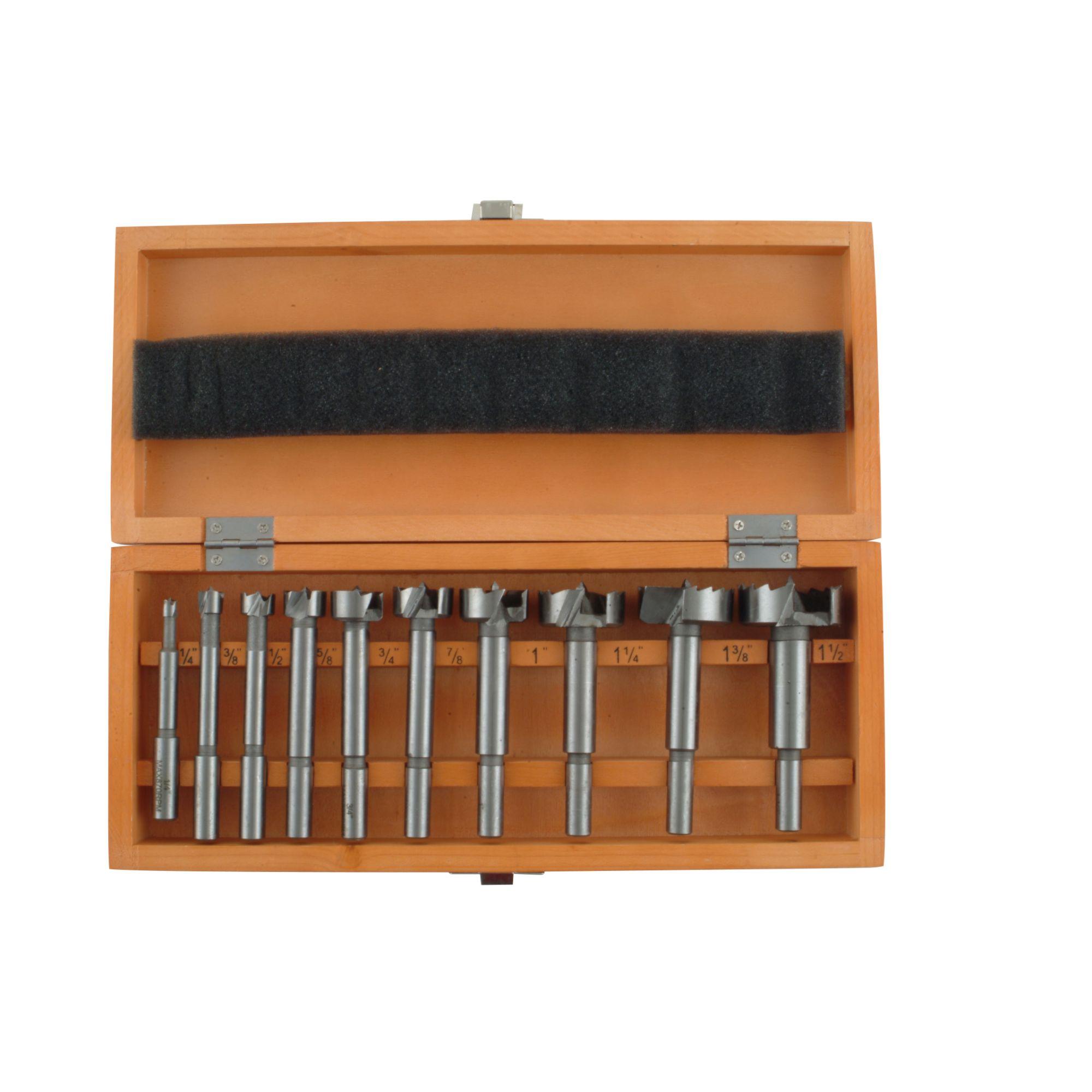 Skil 10 Pc. Forstner Bit Set with Wooden Storage Box