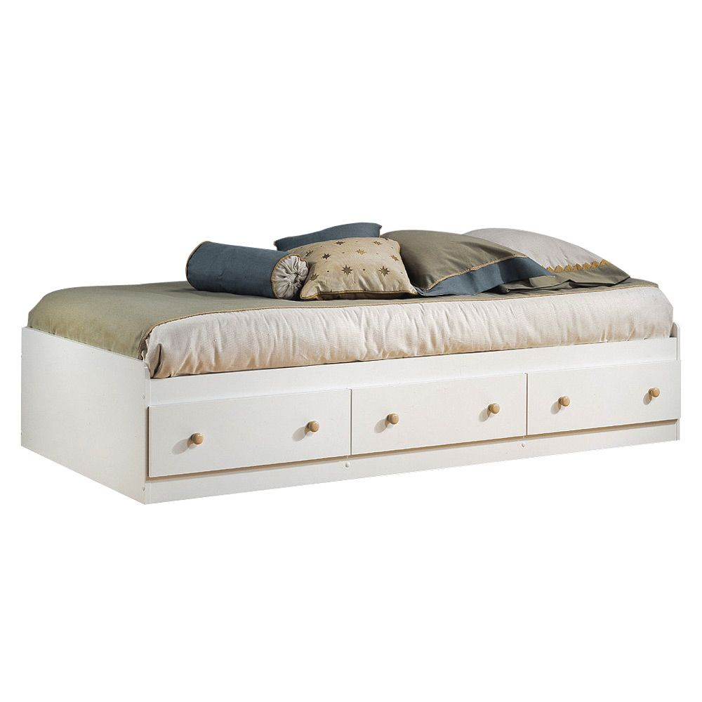 Summertime Twin Mates Bed - Pure White And Maple