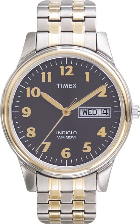 Timex Mens Calendar Day/Date Watch w/Charcoal Dial & Two-tone Expansion Band