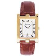 Bulova Mens Dress Watch with White Dial and Leather Strap at Sears.com