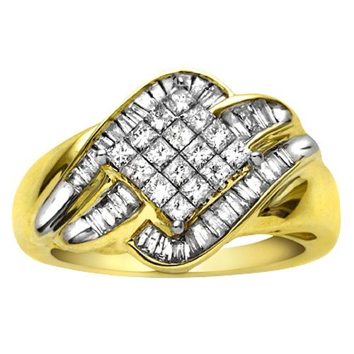 1 cttw Princess and Baguette Diamond Ring