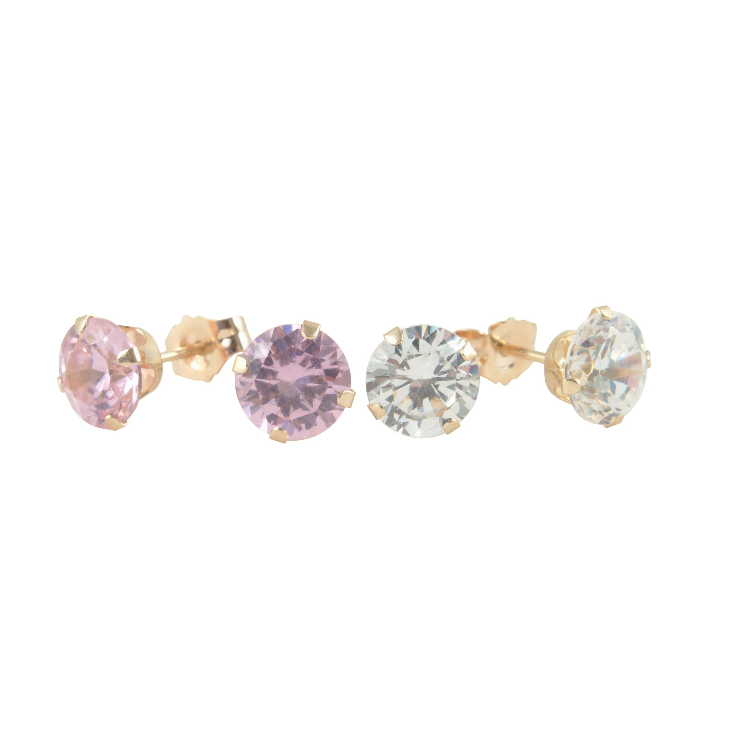 10kt Gold Pink and White Cubic