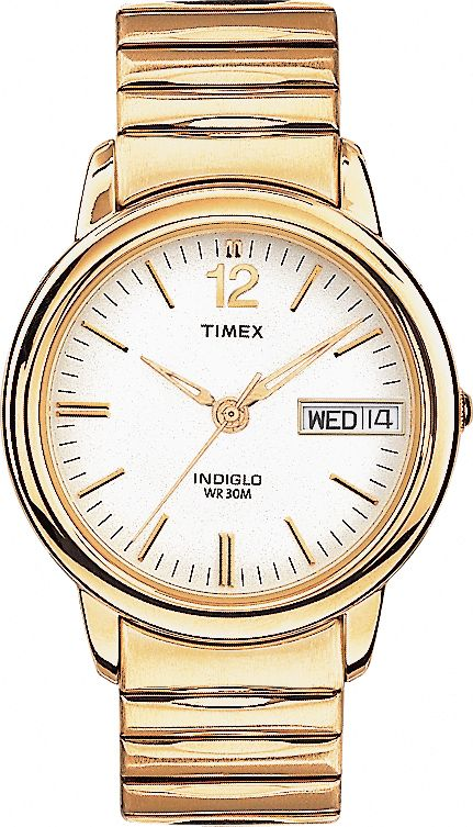 Mens Classic Gold Dress Watch with Expansion Band                                                                                at mygofer.com