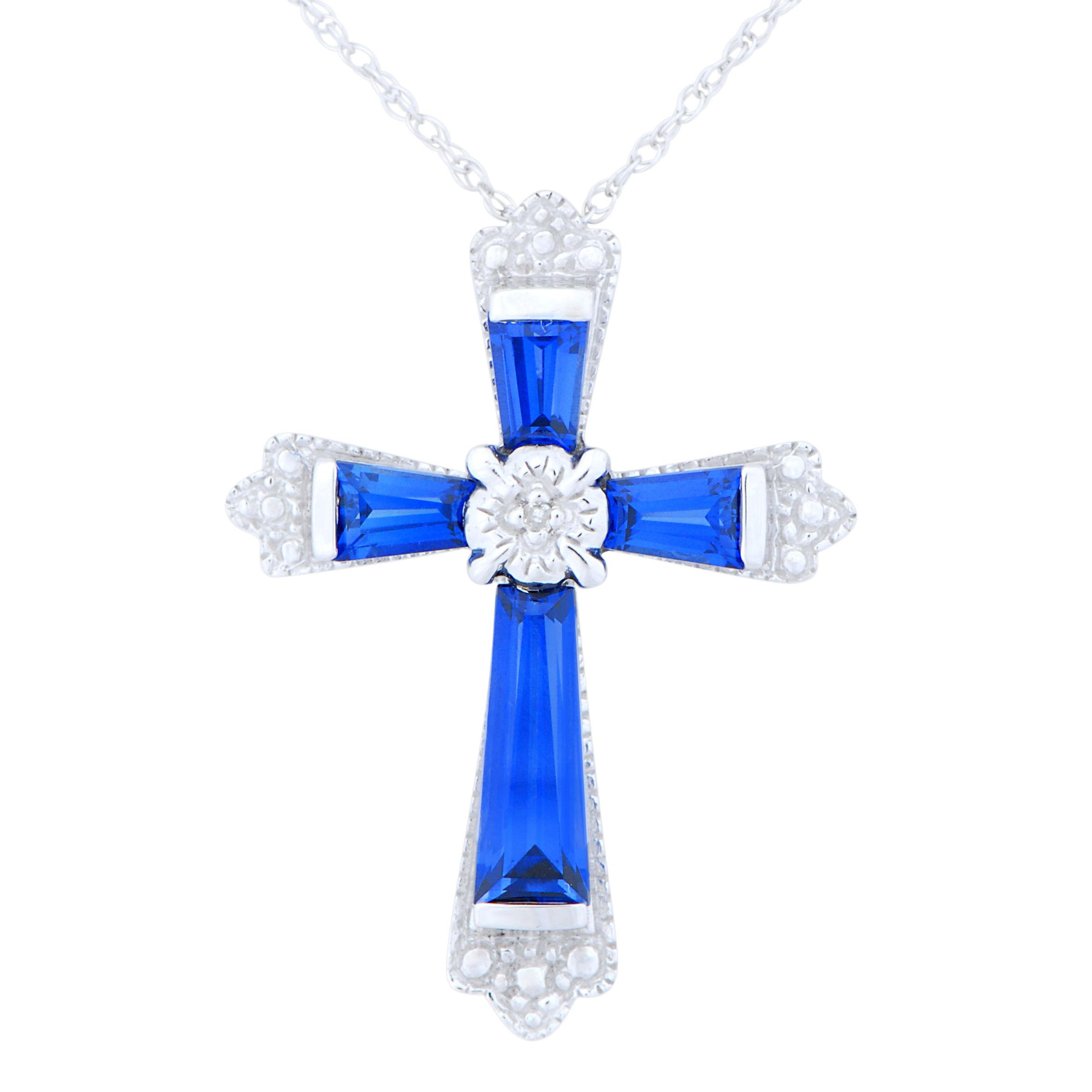 Ceylon Blue Lab Created Sapphire and Diamond Cross Pendant                                                                       at mygofer.com