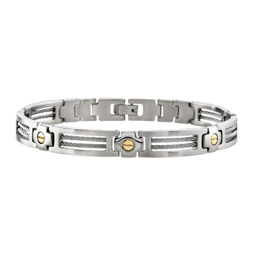 Screw Station Bracelet. 14k Yellow Gold and Steel