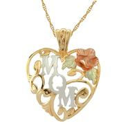 "Black Hills Gold Tricolor 10K Gold ""MOM"" Heart Pendant with Dakota Rose at Kmart.com"