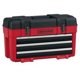 3-Drawer Plastic/Metal Portable Chest - Red/Black