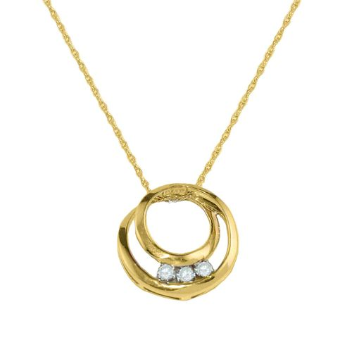 1/20 cttw Three Stone Diamond Circles Pendant in 10K Yellow Gold                                                                 at mygofer.com