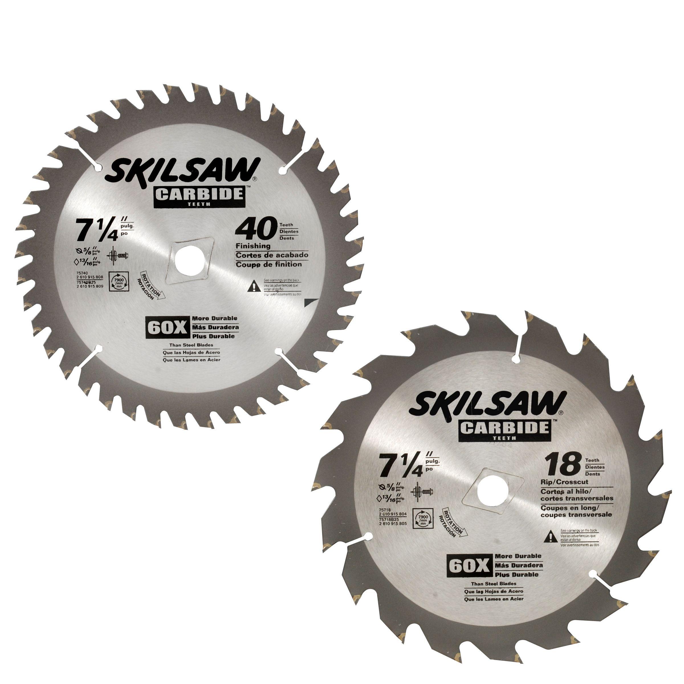 Skil 7-1/4 in. 40T/18T Carbide Circular Saw Blades, 2 pk.
