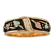 Black Hills Gold Tricolor 10K Gold Ladies' Antiqued Diamond Accent Band Ring at Sears.com