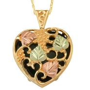 Black Hills Gold Tricolor 10K Puffed Heart Onyx Pendant at Kmart.com